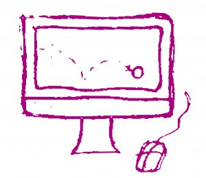 Doodle of computer with animation on screen