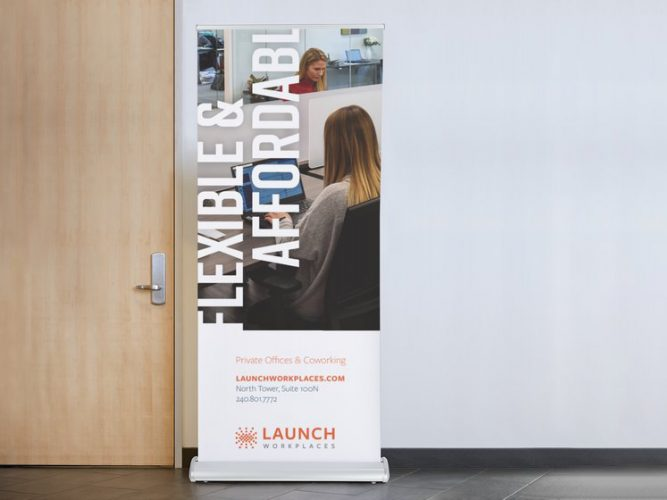 Launch workplaces roll up banner