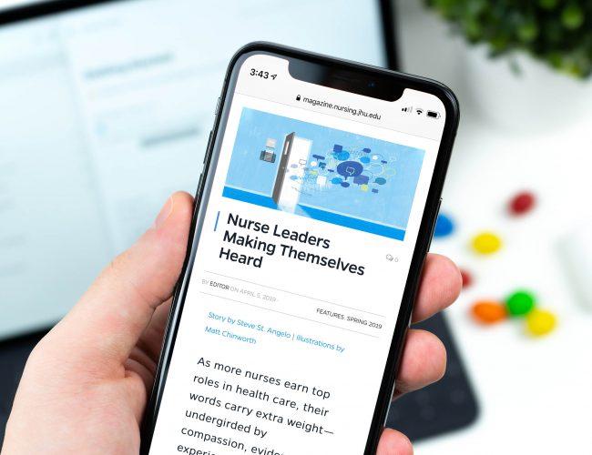 Johns Hopkins Nursing Magazine Website Mobile