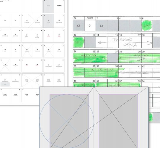 Sketches and wireframes for magazine structure