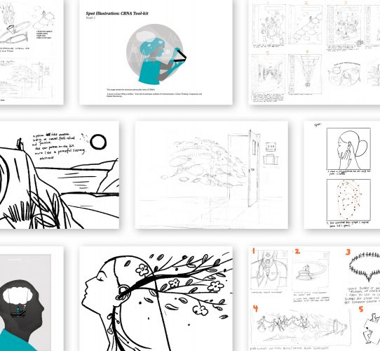 Sketches of illustration concepts for magazine cover art